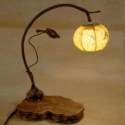 Paper Bedside Lamp with Yellow Lantern and Bird Design