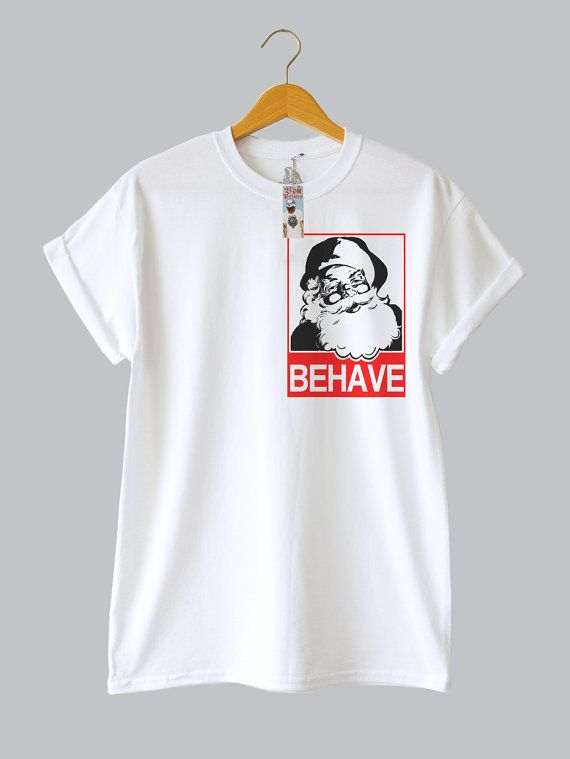 behave christmas tee by ben prints on etsy a t shirt design pinterest prints etsy and. Black Bedroom Furniture Sets. Home Design Ideas