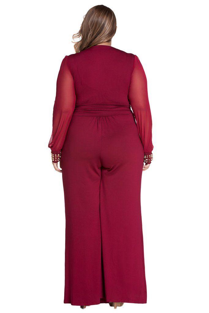 Achat Combinaisons Femme Soiree Grande Taille Rouge Embelli Maille Longue Manches Pas Cher,Acheter en Solde de Combinaisons Femme Grande Taille en Ligne!