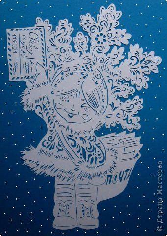 Картина панно рисунок Новый год Вырезание Вам письмо Бумага фото 1