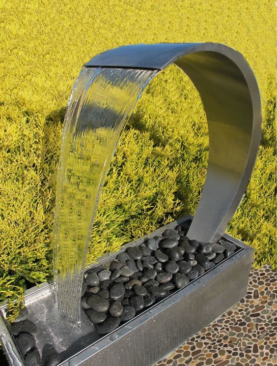 Wave Stainless Steel Water Feature Freestanding Water