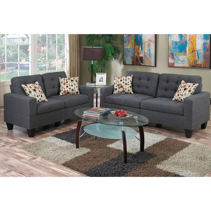 $539, Poundex Bobkona Windsor 2 Piece Sofa and Loveseat Set