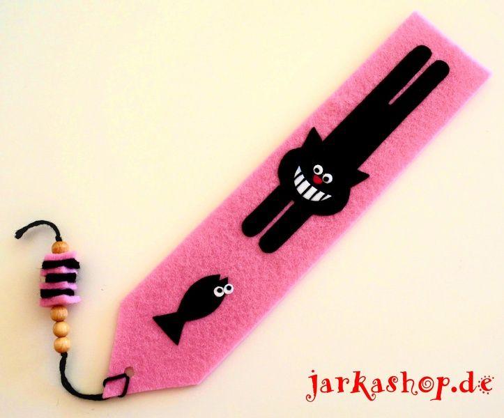 """Filz - Lesezeichen """"Lachende Katze mit Fisch"""" rosa - ein Designerstück von jarkashop bei DaWanda"""