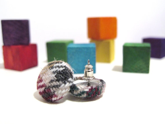 Wool fabric chequered covered button earrings with flower