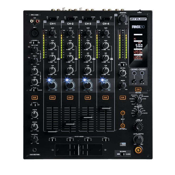 Compra en linea Mixer Reloop Rmx-60 Digital 6 Ch, Mezclador versátil, zona de ecualización personalizable, adaptable a scracht, crossfader ajustable, C,Negro.