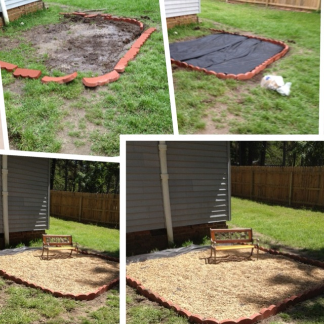 dirt pit to pea gravel patio not quite finished yet i still want to add lots of plants and different outdoor furniture