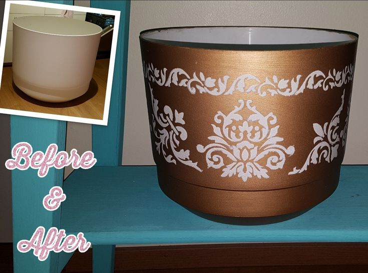 Golden damask plant pot. Primer, Maston's golden spray paint and stenciled the white with chalk paint