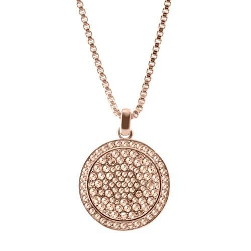 pink michael normal necklace product kors gold in chain padlock pendant lyst tone and silver jewelry rose