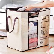 Favorable 65L Clothes Quilts Storage Bags Folding Transparent Organizer Bags Bamboo Portable Storage Container - NewChic Mobile