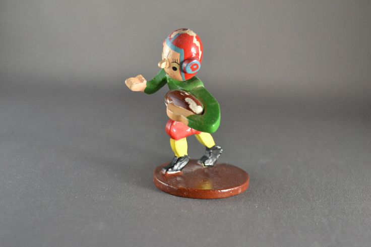Vintage Hand Carved Wooden Sports Figure Football Bobblehead with Original Box | eBay