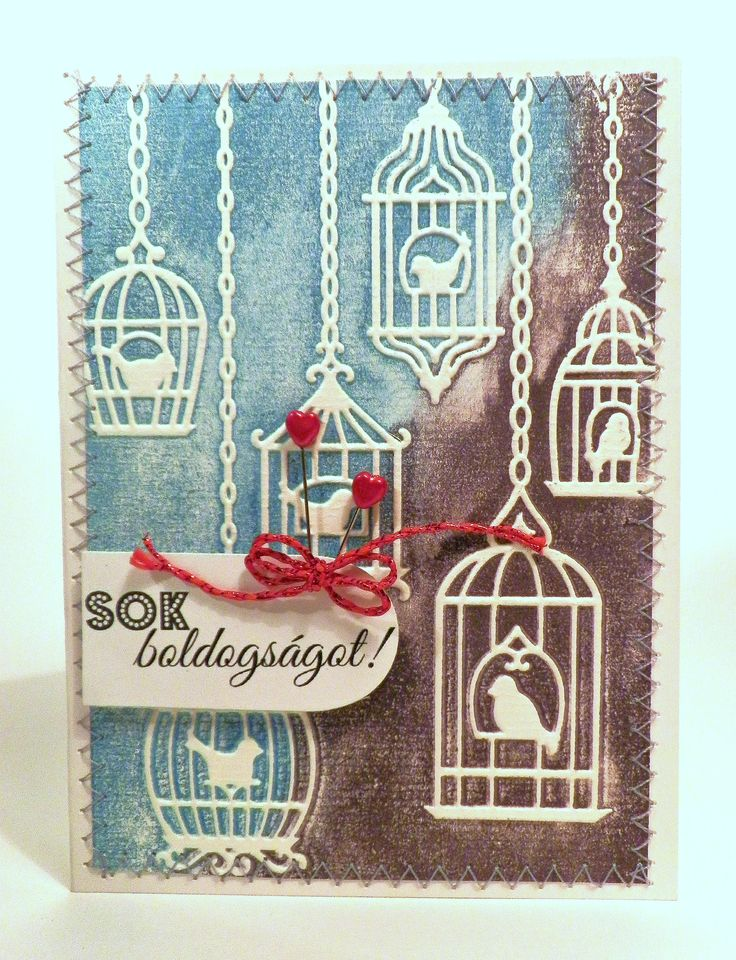 A very simlpe card again. Just ink up an embossing folder and this happens.