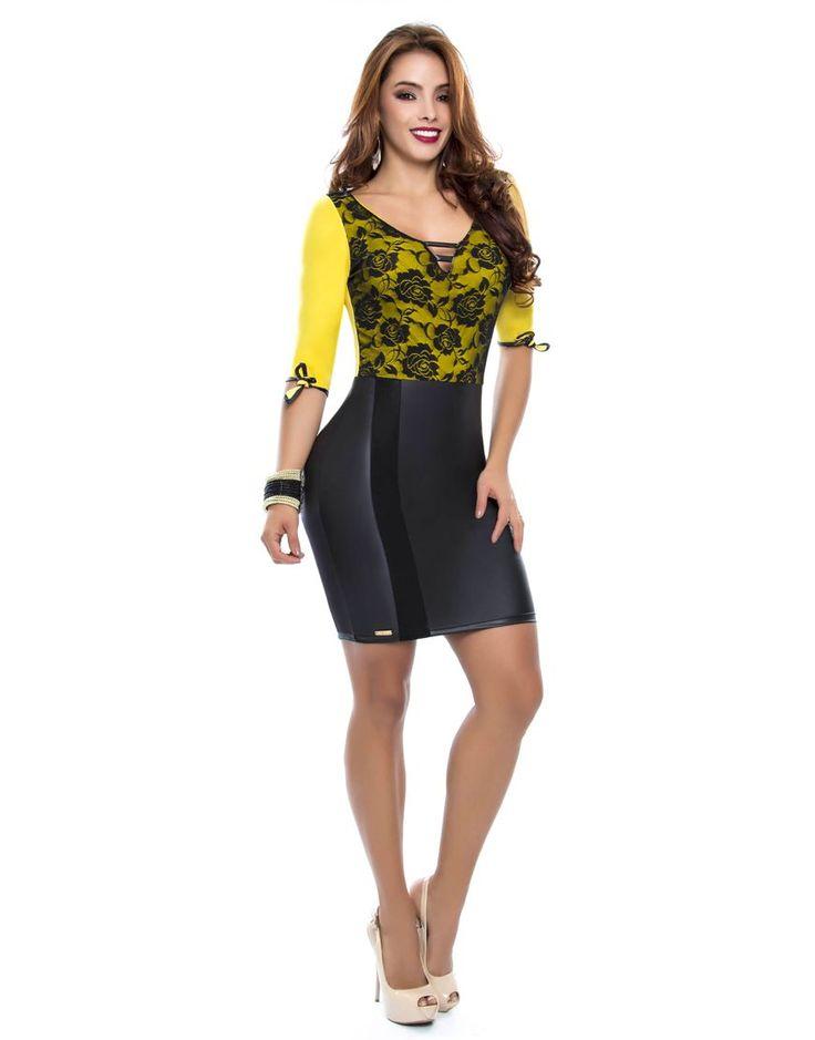 Vestido PV-2032-AM Vestido corto en tono amarillo con negro.