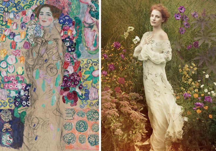 """Jessica Chastain fotografiada por Annie Leibovitz para la edición de VOGUE de diciembre del año 2013. En la imagen, recreando """"Frauenbildnis"""" (retrato de Ria Munk III)1917-1918 de Gustav Klimt."""