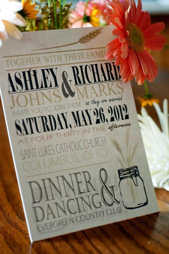 Mason Jar Wheat Wedding Invitation Blue Green by InvitedInc, $3.95