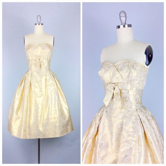 50s Gold Strapless Party Dress / 1950s by CheshireVintageShop