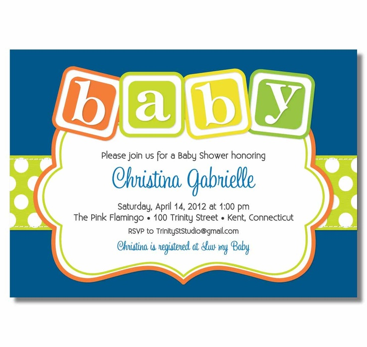 Baby Blocks Baby Shower Invitation for a Girl or Boy - PRINTABLE DIY Digital or Printed Design (optional).