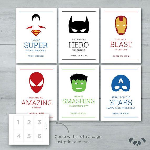 Superhero Valentines  |  Spiderman, Batman, Captain America, Superman, Hulk, Iron Man Valentine Cards