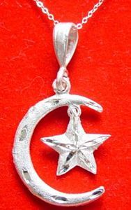 Moon & Star Pendant Silver Islamic Muslim Jewelry Charm Sterling Silver 925 Jewelry