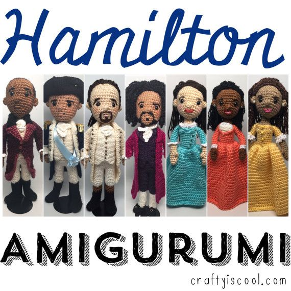 PATTERNS ONLY! THIS IS NOT A LISTING FOR DOLLS!  As seen on Hamiltons America on PBS!  Dont throw away your shot! WORK WORK---get to work on these amigurumi Hamilton dolls! Theyre fun and easy to crochet! Who knew a biography of one of the founding fathers, Alexander Hamilton would become a hit Broadway musical? One guy, Lin-Manuel Miranda did I guess. Now its winning all the awards and its sold out for months. Crochet Hamilton, Burr, Jefferson, Washington, Angelica, Eliza, AND PEGGY for a…