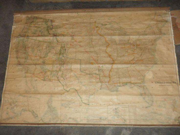 Mappa da parete Stati Uniti d'America Wallmap of United State 1917