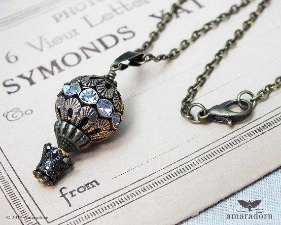 Steampunk Necklace, Hot Air Balloon, Diamante Balloon Necklace, Rhinestone Balloon Pendant, Antiqued Bronze Filigree, Handmade UK