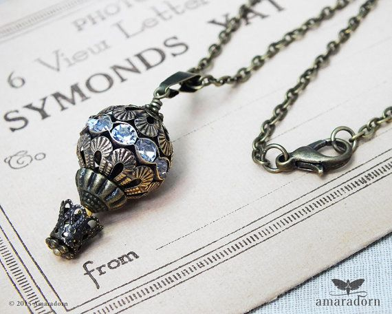 Steampunk Necklace Hot Air Balloon Diamante Balloon by Amaradorn