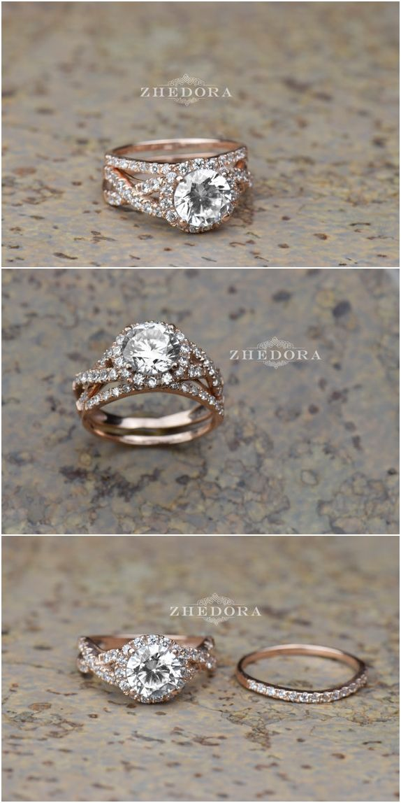 2.35 CT Round Cut Engagement Ring band set in Solid 14k or 18k Rose Gold Bridal, Wedding Set , Engagement Set