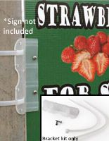 Flexible Sign Bracket for Corrugated Plastic Sheets, Wall Mounted - Clear