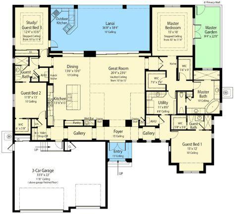 Plan 33147zr energy smart house plan with rear lanai for Smart house floor plans