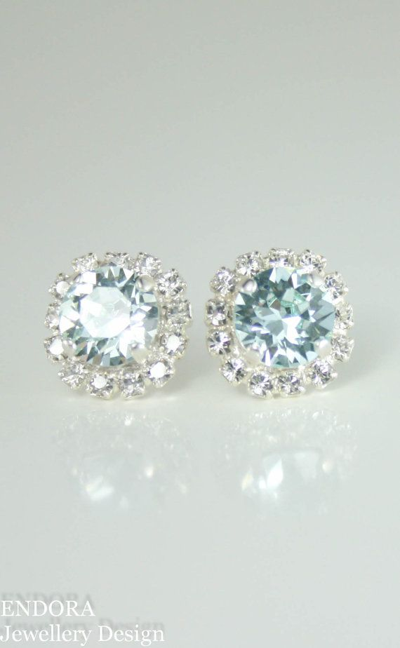 Light Azore Sparkling Swarovski Crystal Rhinestone Stud Earrings, Wedding Jewelry Gift for Bridal or Bridemaid