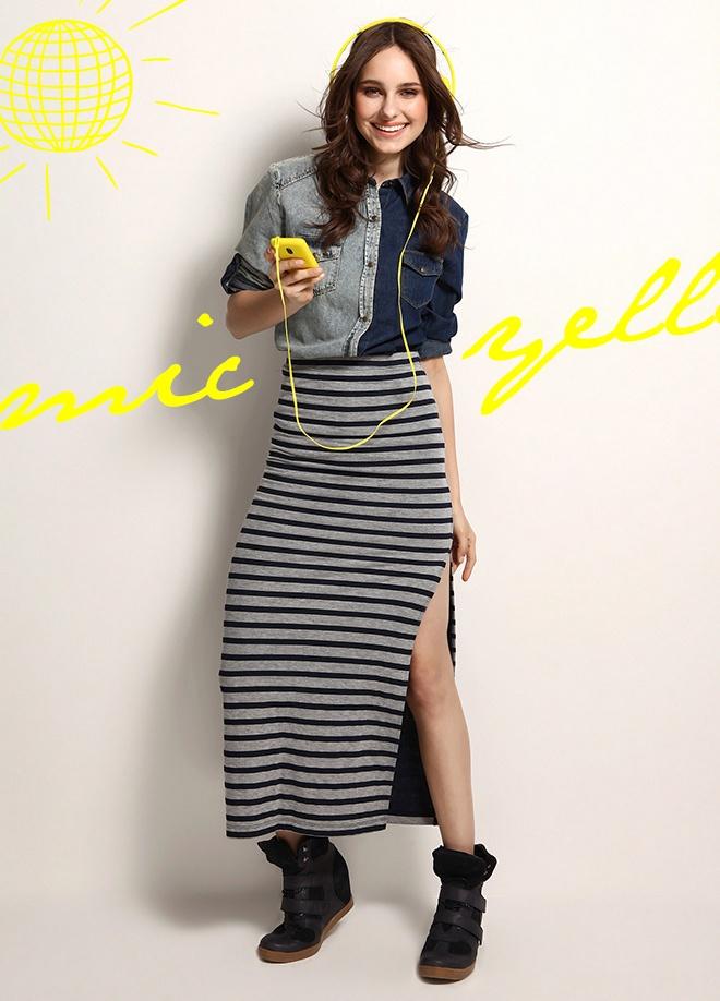 Be Street Lady Uzun çizgili etek Markafoni'de 49,99 TL yerine 24,99 TL! Satın almak için: http://www.markafoni.com/product/3520072/