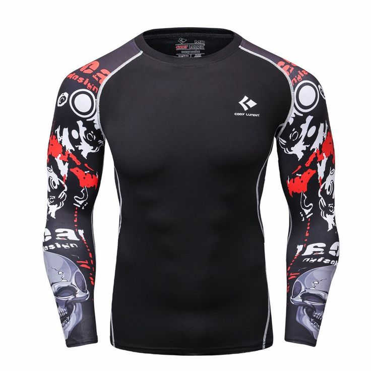 Men Compression Shirts MMA Rashguard Keep Fit Fitness Long Sleeves Base Layer Skin Tight Weight Lifting Elastic Fitness Mens T Shirts