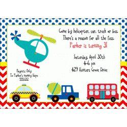transportation birthday party invitation kids birthday invitations