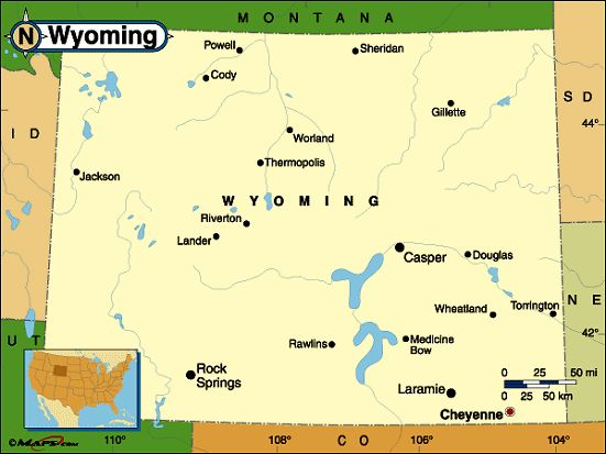 Map Of Wyoming With Cities My Blog - Cities in wyoming map