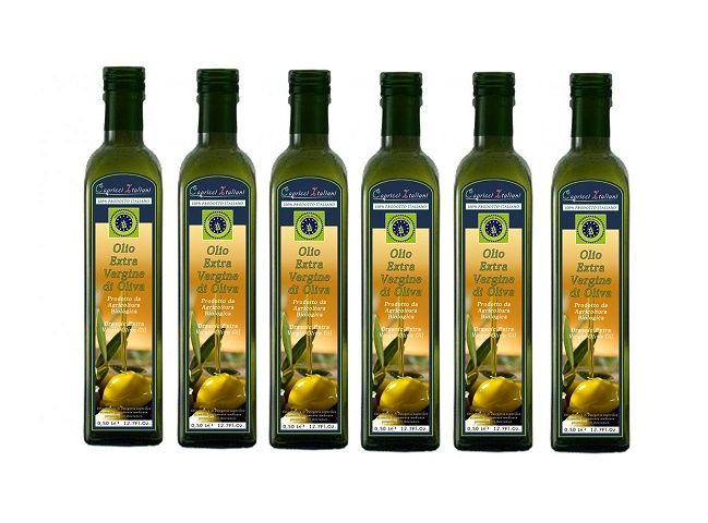 Cartone con 6 Bottiglie di Olio EVO da Agricoltura Biologica. E' un EVO (Extra Vergine d'Oliva) ottenuto con metodi meccanici a freddo da olive monocultivar senza impiego di prodotti chimici di sintesi e con soli concimi e antiparassitari naturali. Ha tutte le caratteristiche e i requisiti dell'Evo e un grado di acidità inferiore allo 0,40%.