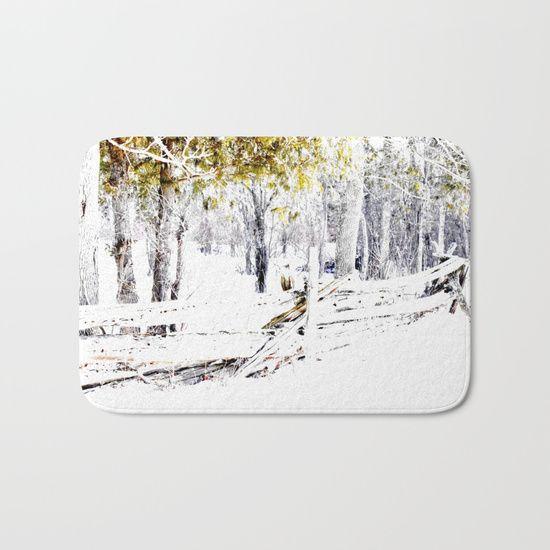 Winter Fence Line | Landscape | Nadia Bonello | Canada Bath Mat by Tru Artwear | Society6