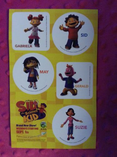 Rare-PBS-Sid-the-Science-Kid-Promotional-Stickers-Gabriela-May-Gerald-Suzie