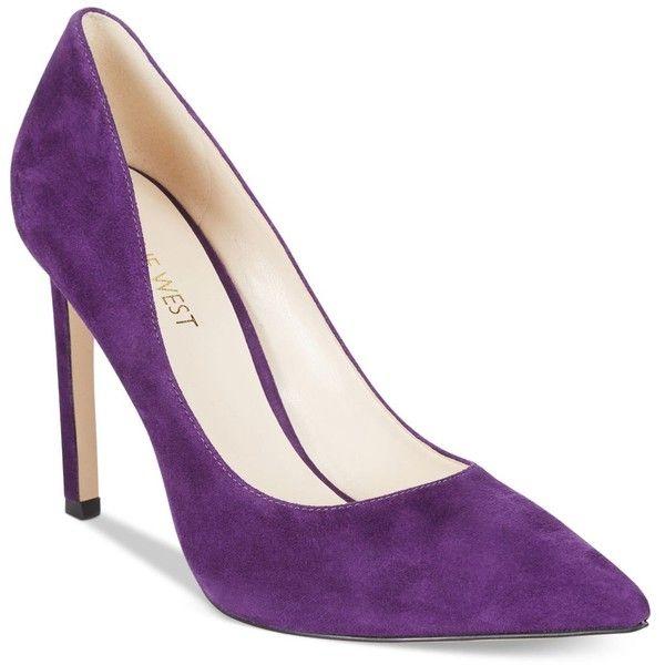 Nine West Tatiana Pumps ($79) ❤ liked on Polyvore featuring shoes, pumps, dark purple suede, nine west, suede leather shoes, nine west pumps, stiletto high heel shoes and high heel stilettos