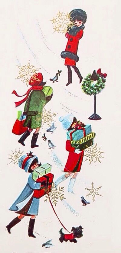 Vintage Christmas card, 1960s mod ladies shopping in snow