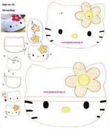 Free Felt Hello Kitty Pillow Cushion Sewing Pattern / Template