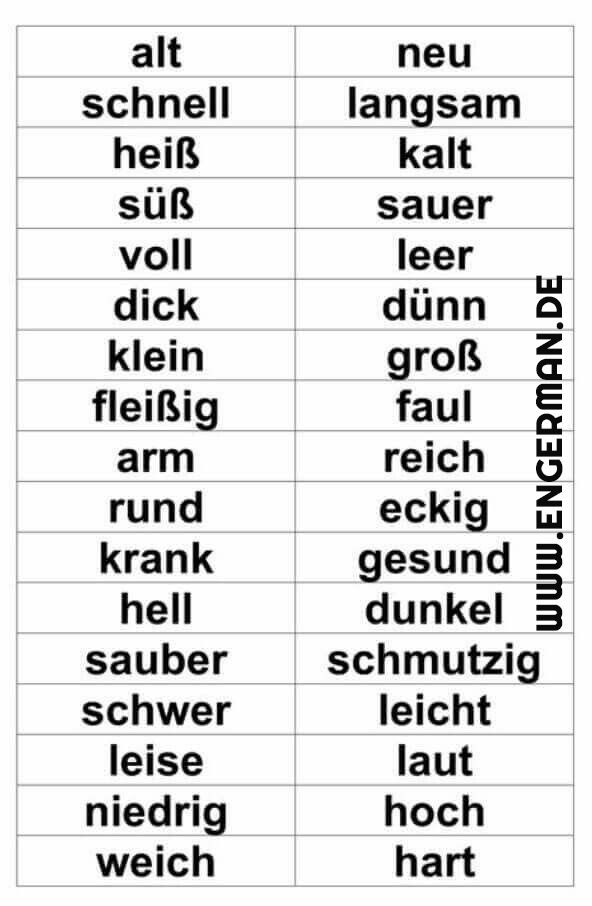German vocabulary - Gegenteile = Opposites www.engerman.de