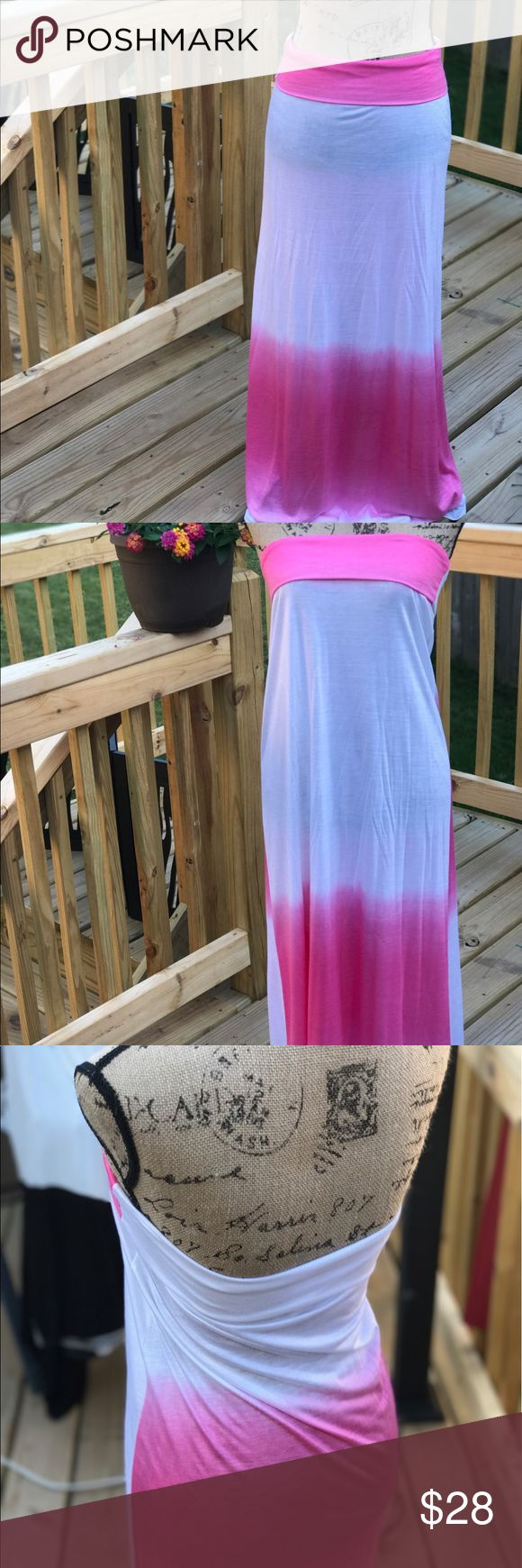 Maxi skirt / Beach cover up Pink and white Maxi skirt / beach cover up Skirts Maxi