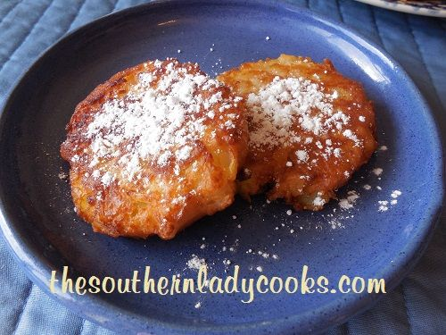 PINEAPPLE FRITTERS Recipe Desserts with all-purpose flour, granulated sugar, baking powder, crushed pineapple, milk, cooking oil