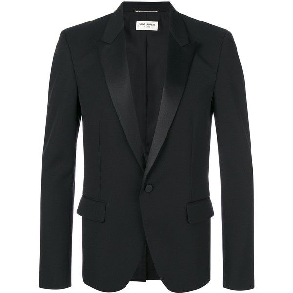 Saint Laurent classic single breasted jacket ($2,890) ❤ liked on Polyvore featuring men's fashion, men's clothing, men's outerwear, men's jackets, black and yves saint laurent