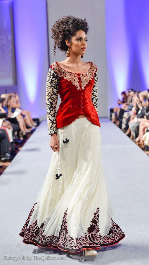 Red velvet and white lehnga by pure-elegance.com