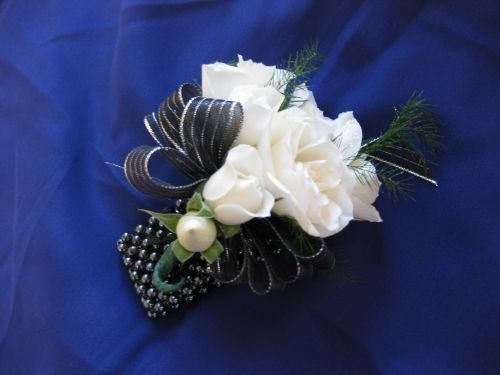 wrist corsage for homecoming for black dress   Black And Silver Prom Corsage Timeless black & white wrist