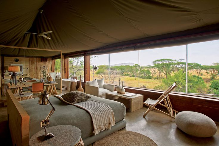 Singita Faru Faru – Built on the Grumeti Reserve in northern Tanzania, Singita Faru Faru is located along a migratory route traversed annually by more than a million wildebeest, allowing guests direct proximity to some of the region's most beloved natural species.