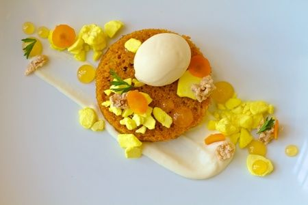 Carrot Cake with Cinnamon Ice Cream, Candied Walnuts, Pineapple Meringue, Mascarpone Crema