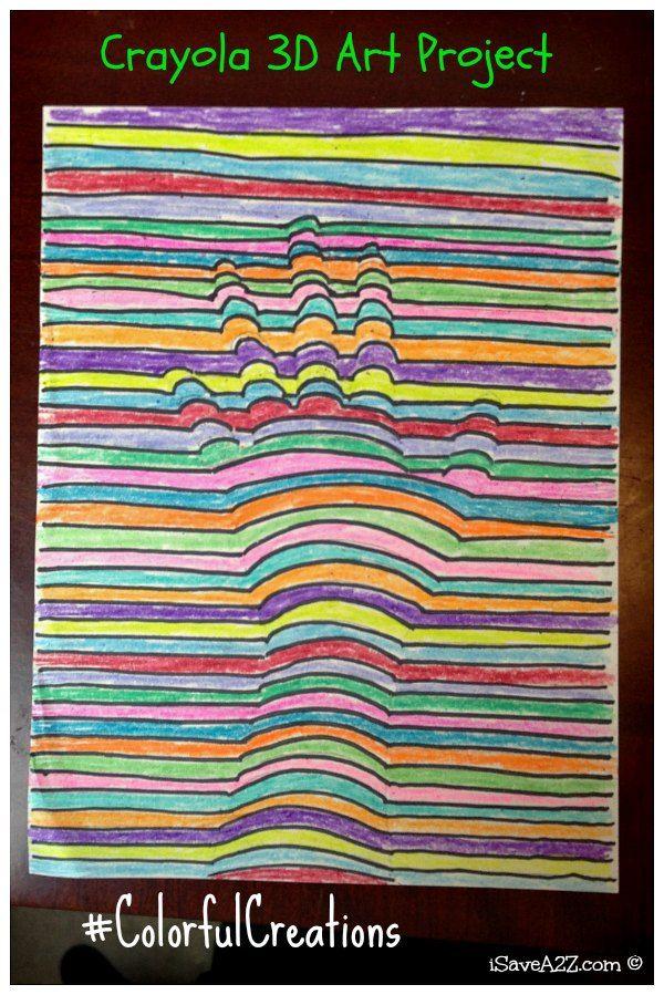 Kids 3d art project idea using crayons 3d art projects for 3d art projects
