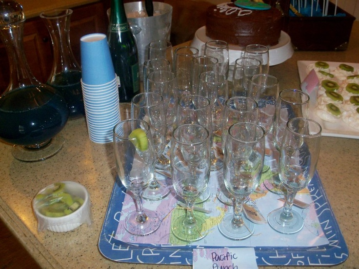Pacific Punch - glasses labeled with names, then we put kiwi on the glasses